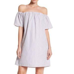 Bobeau | Pinstriped Off Shoulder Summer Dress NWT